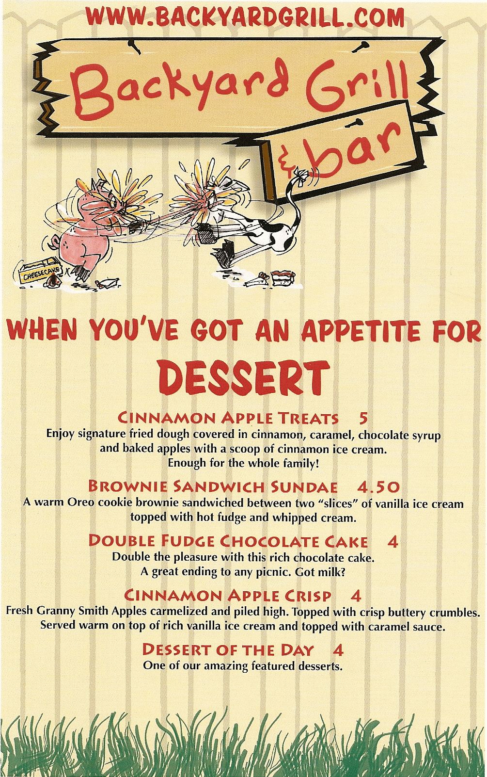 backyard grill and bar dessert menu 87125