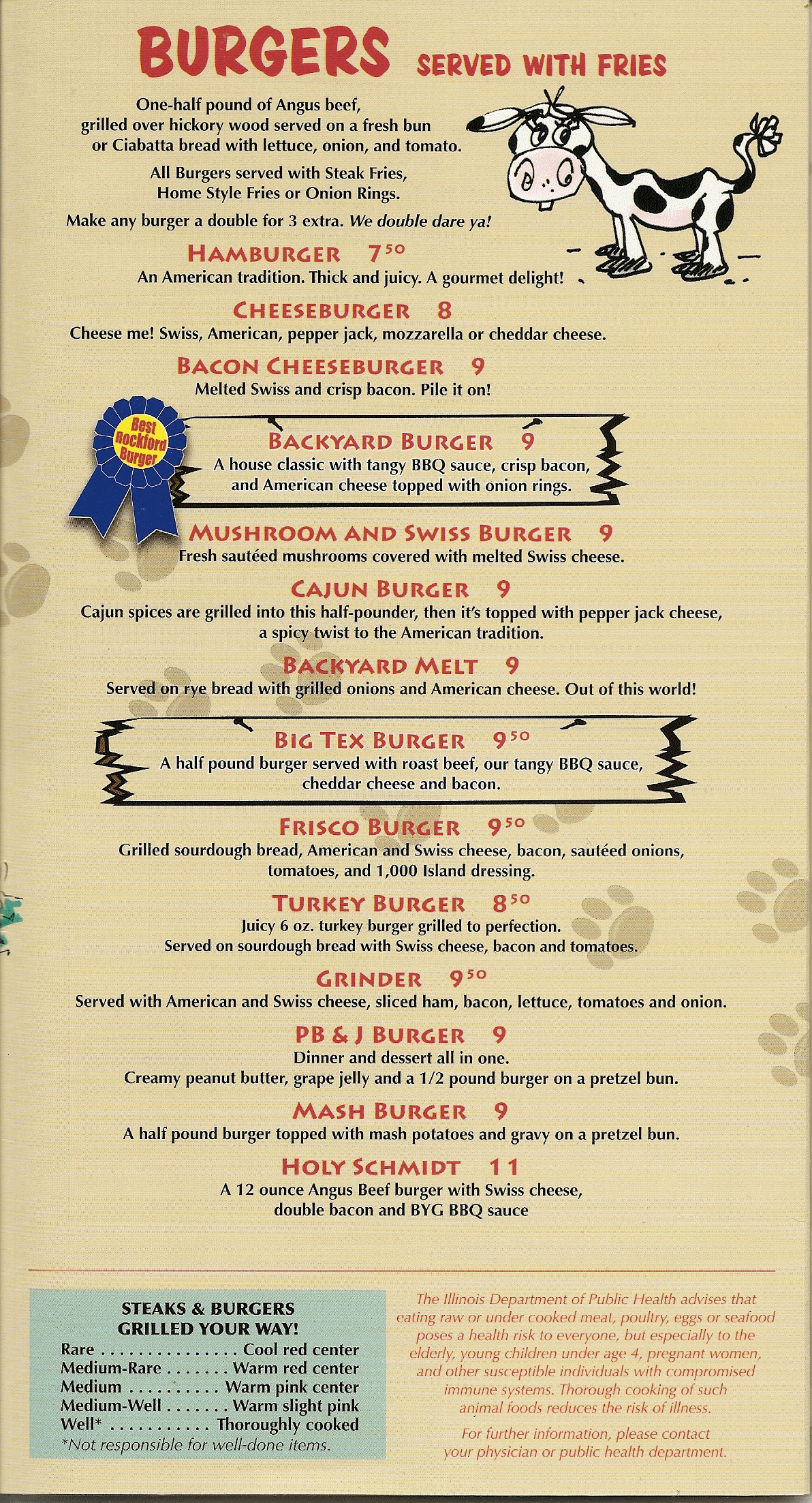Backyard Grill and Bar Menu | Backyard Grill and Bar