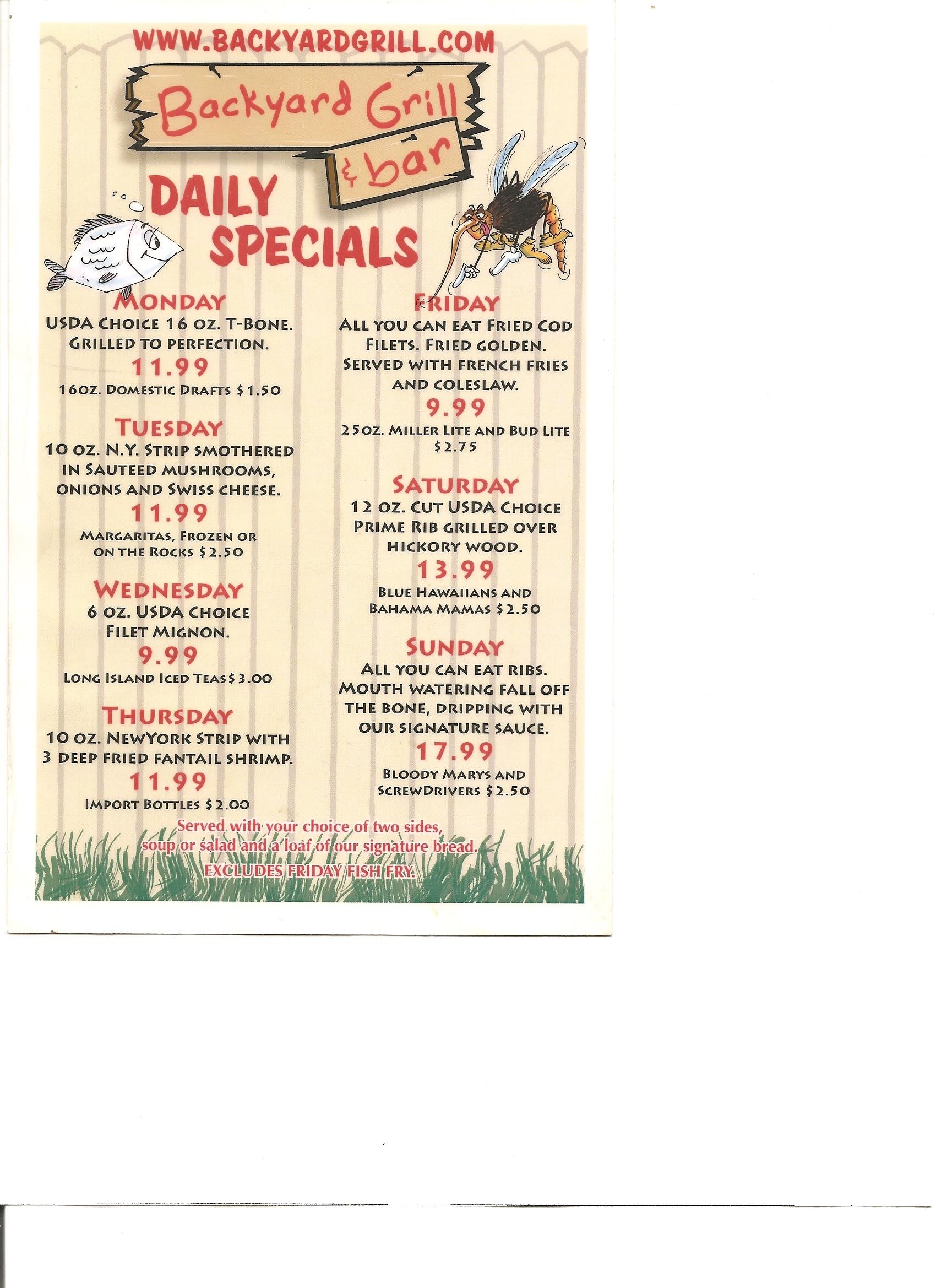 Backyard Grill and Bar Daily Specials Menu | Backyard ...