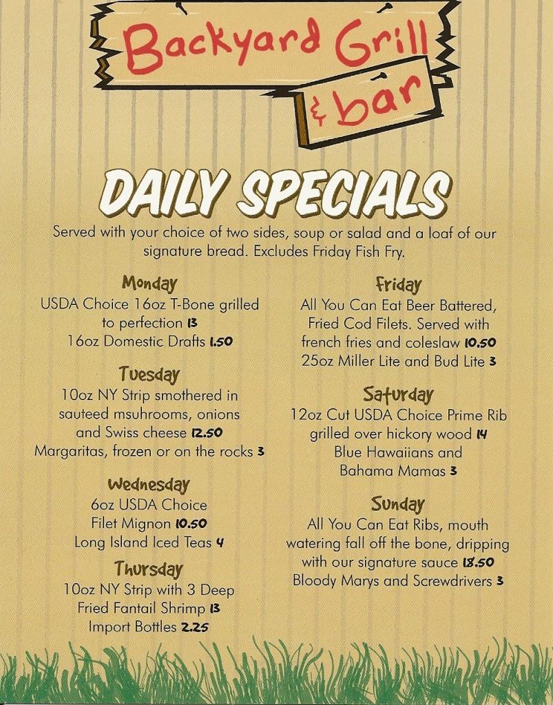 backyard grill and bar daily specials menu backyard grill and bar