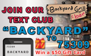 Text club banner for backyard grill and bar